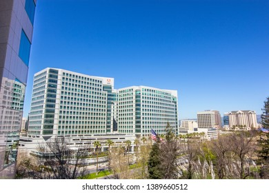 San Jose, CA – March 18, 2019: South view of Adobe's downtown San Jose headquarters and downtown San Jose cityscape view.