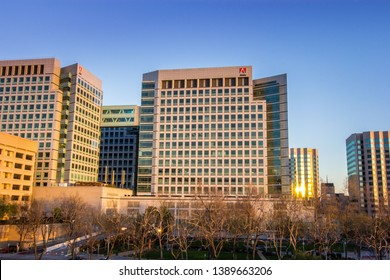 San Jose, CA – March 18, 2019: Adobe's downtown San Jose headquarters and downtown San Jose cityscape view at sunset that includes 111 Almaden Blvd, 151 Almaden Blvd, 321 E. Park Ave, 345 Park Ave and