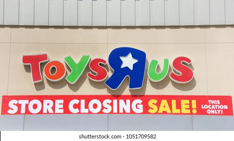 San Jose, CA - March 19, 2018: Toys R Us store front sign. Bankrupt retailer Toys R Us is in the process of closing and/or selling all of its 735 US stores.