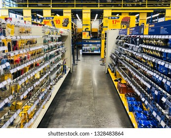 San Jose, CA - March 3, 2019:  Inside a Napa Auto Parts store with empty row. Popular destination for mechanics and DIY car tinkerers.