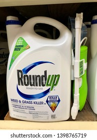 San Jose, CA - May 15, 2019: Roundup Weed & Grass Killer spray in a ready to spray gallon sized container. Manufactured by Monsanto which is owned by Bayer.