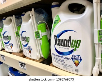 San Jose, CA - May 15, 2019: Large ready to use containers of RoundUp Weed Killer. Monsanto Corporation manufactures this product.