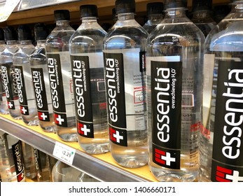 San Jose, CA - May 23, 2019: Bottles of Essentia branded drinking electrolyte water on a store shelf.