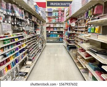 San Jose, CA - November 22, 2019: Michaels hobby and craft store view of an art supply isle.