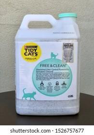 San Jose, CA - October 3, 2019: Closeup of Purina Tidy Cats Unscented litter.