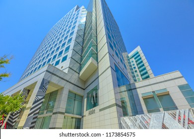 San Jose, CA, United States - August 12, 2018: Adobe headquarters building in Silicon Valley. Adobe is leader company of software for graphic, photography, video making and a big microstock agency.