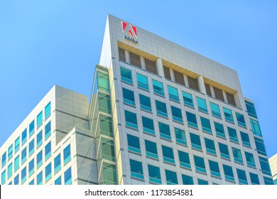 San Jose, CA, United States - August 12, 2018: Facade of Adobe headquarters in Silicon Valley. Adobe is leader company of software for graphic, photography, video making and a big microstock agency.