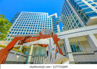San Jose, CA, United States - August 12, 2018: modern sculpture at Adobe headquarters building in Park Ave in San Jose. Adobe is leader software house of the Silicon Valley and big microstock agency.