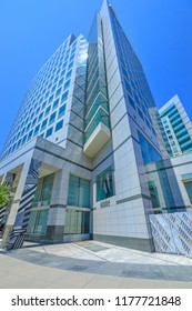 San Jose, CA, United States - August 12, 2018: vertical shot of Adobe HQ in Silicon Valley. Adobe is leader company of software for graphic, photography, video making and a big microstock agency.
