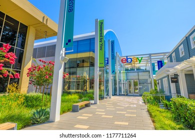 San Jose, CA, USA - August 12, 2018: eBayCampus headquarters in San Jose of Silicon Valley, California. eBay Inc. is the leader company in e-commerce with its online marketplace and virtual stores.