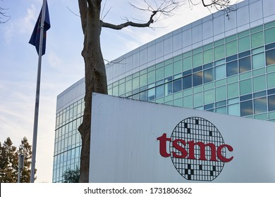 San Jose, CA, USA - Feb 12, 2020: The entrance sign at TSMC North America Headquarters. Taiwan Semiconductor Manufacturing Company is the world's largest dedicated independent semiconductor foundry.