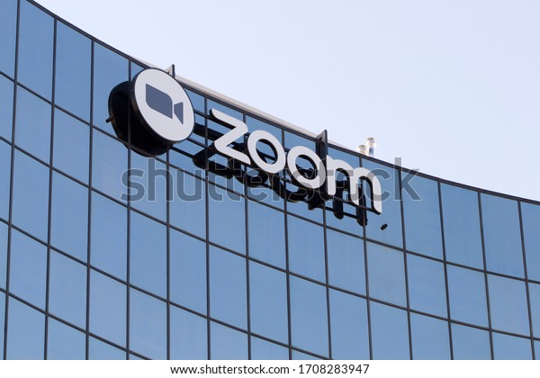 San Jose, CA, USA - Feb 17, 2020: The Zoom logo seen at Zoom Video Communications Headquarters campus in San Jose, California. Zoom provides remote conferencing services using cloud computing.