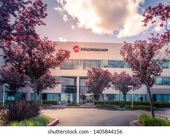 San Jose, CA/ USA - March 26, 2019: Microchip Technology Inc. is an American manufacturer of microcontroller, mixed-signal, analog and Flash-IP integrated circuits. Microchip office building