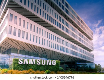 San Jose, CA/ USA - March 26, 2019: Samsung Semiconductor, Inc, Silicon Valley Headquarters,  subsidiary of Samsung Electronics, Ltd, mobile, SSD, chip and consumer electronics maker