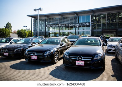 San Jose, CA/ USA - October 29, 2019: Closeup of Mercedes-Benz Dealership. Mercedes-Benz is a German global automobile marque,  division of Daimler AG with headquarters in Stuttgart, Baden-Württemberg