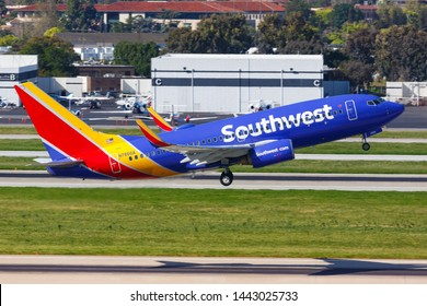 San Jose, California – April 10, 2019: Southwest Airlines Boeing 737-700 airplane at San Jose airport (SJC) in the United States.