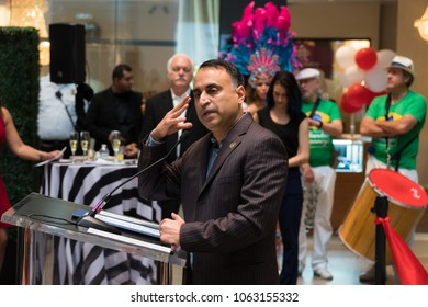 SAN JOSE, CALIFORNIA - APRIL 6, 2018: Ash Kalra, California State Assembly Member speaks at the grand re opening and ribbon cutting of the Eastridge Mall
