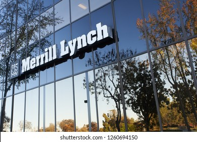 San Jose, California - Dec 7, 2018: The Merrill Lynch sign on the Triangle Building.