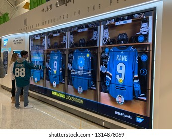 San Jose, CALIFORNIA - Feb. 14, 2019. A touch screen interactive locker room at the SAP Center, home of the NHL team, the San Jose Sharks.
