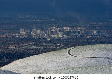 San Jose,  California - February 5 2019: Snow on Alum Rock Park Hillside Snowfall