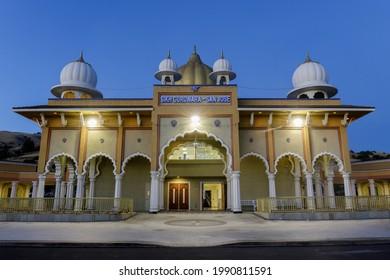 San Jose, California - June 12, 2021: Façade of Sikh Gurdwara during the blue hour