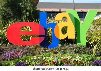 SAN JOSE, CALIFORNIA - MARCH 28, 2009 : eBay Inc. company logo in front of the Whitman Campus on a sunny day March 28, 2009 in San Jose. eBay recently announced to separate Skype through IPO.