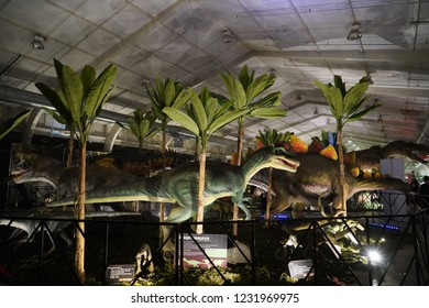 SAN JOSE, CALIFORNIA - November 16, 2018. Jurassic Quest is a visiting Dinosaur event with real life size dinosaurs and interactive exhibits, rides, and activities  for children and adults.