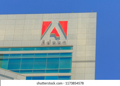San Jose, California, United States - August 12, 2018: Adobe Logo at Adobe Headquarters. Adobe is leader company of software for graphic, photography, video making and a big microstock agency.