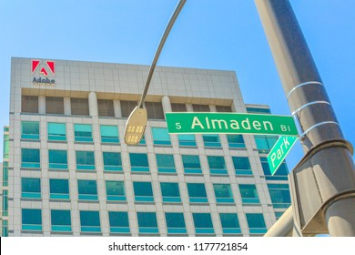 San Jose, California, United States - August 12, 2018: Adobe headquarters in Park Avenue and Almaden Street sign of San Jose, Silicon Valley, California.