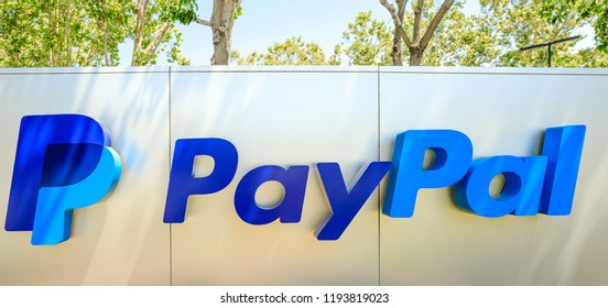 San Jose, California, United States - August 12, 2018: closeup of Paypal logo at Paypal Headquarters. Paypal is a corporation providing a virtual bank service and payments through internet