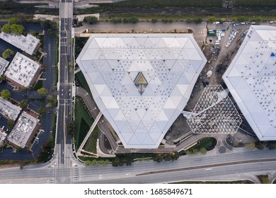 San Jose, California / United States of America - 3/27/20: Silicon Valley Landmark from Above