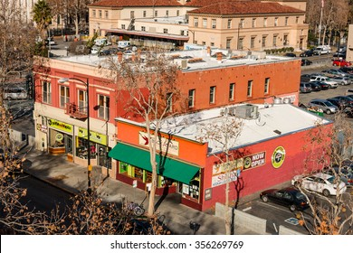 SAN JOSE, CALIFORNIA, UNITED STATES, December 17, 2015: Two older brick buildings exemplify traditional downtown development patterns.