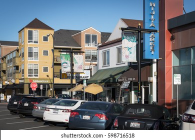 SAN JOSE, CALIFORNIA, UNITED STATES, March 11, 2017: A group of shops, restaurants and apartments in San Jose's Japantown, a popular destination for locals and tourists.