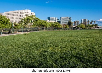SAN JOSE, CALIFORNIA, UNITED STATES, March 27, 2017: An urban park in San Jose with the city skyline in the background.