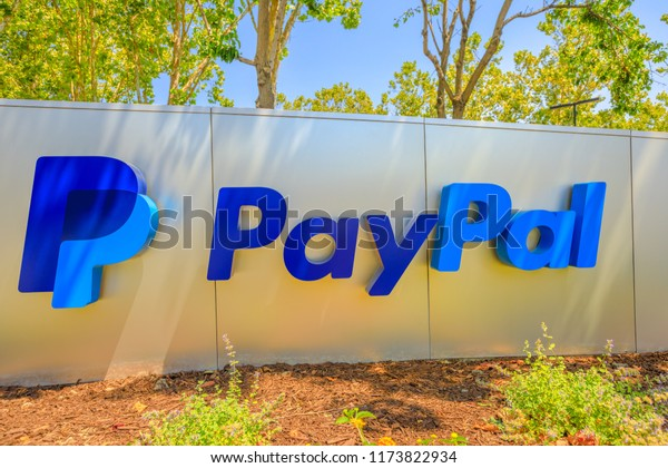 San Jose, California, United States - August 12, 2018: Paypal sign at Paypal Headquarters. Paypal is a multinational corporation that provides a virtual bank service and payments through internet