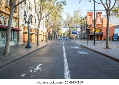 San Jose, California / USA - 03/20/2020: Empty streets in the bay area due to coronovirus covid-19 shelter in place locdown