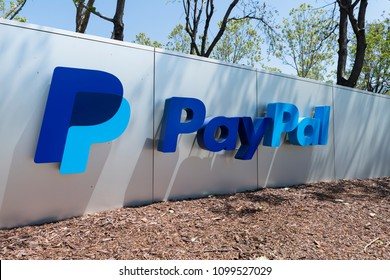 San Jose, California, USA - April 26, 2018: Exterior view of Paypal 's headquarters in Silicon Valley. PayPal Holdings, Inc. is an American company operating a worldwide online payments system.
