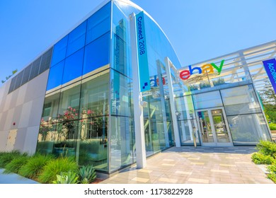 San Jose, California, USA - August 12, 2018: ebay Headquarters and Campus in San Jose. eBay operates the world's largest online auction sites and is one of the largest overall e-commerce companies.