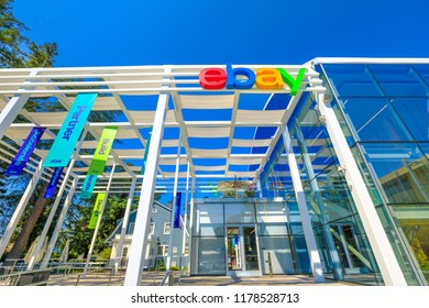 San Jose, California, USA - August 12, 2018: Facade of the Ebay world headquarters. Ebay is a multinational corporation that provides the main online marketplace and virtual stores in internet.