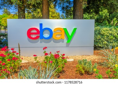 San Jose, California, USA - August 12, 2018: closeup of eBay logo at eBay's headquarters in San Jose, Silicon Valley, California. eBay Inc. is a multinational corporation, a pioneer in e-commerce.