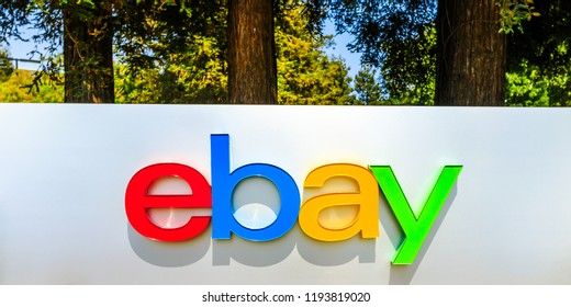 San Jose, California, USA - August 12, 2018: closeup of eBay logo at eBay's headquarters in San Jose, Silicon Valley, California. eBay Inc. is a multinational company, leader in e-commerce