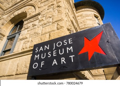 San Jose, California / USA - December 6, 2017 - San Jose Museum of Art logo in downtown San Jose, San Francisco bay, California