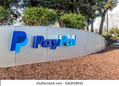 San Jose, California, USA - March 30, 2018:  Sign of Paypal at Paypal 's headquarters in Silicon Valley. PayPal Holdings, Inc. is an American company operating a worldwide online payments system.