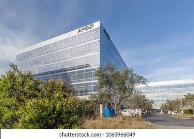 San Jose, California, USA - March 30, 2018:  Sign of AMD on the building at AMD 's headquarters in Silicon Valley. AMD is an American multinational semiconductor company.