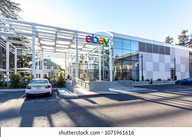 "San Jose, California, USA - March 29, 2018: eBay's welcome center ""main street"" at eBay 's headquarters campus in Silicon Valley. eBay Inc. is a multinational e-commerce corporation."