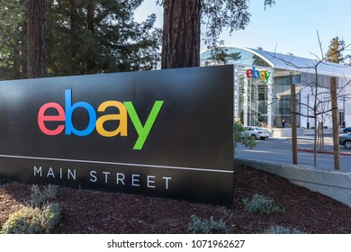 San Jose, California, USA - March 29, 2018: Sign of eBay with eBay's welcome center in background at eBay 's headquarters campus in Silicon Valley.