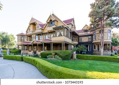 San Jose, California, USA - March 29, 2018: Exterior view of Winchester Mystery House at entrance. The Winchester Mystery House was once the personal residence of Sarah Winchester.