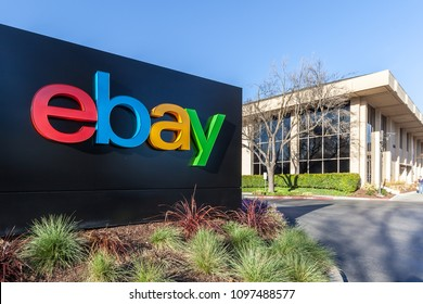 San Jose, California, USA - March 29, 2018: eBay sign at eBay 's headquarters in Silicon Valley. eBay Inc. is a multinational e-commerce corporation.