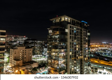 San jose, California, USA - March, 19, 2019: Aerial night view from High-rise building   Downtown San Jose, CA