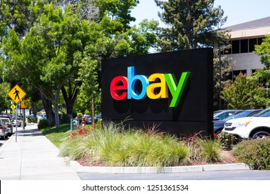 San Jose, California, USA - May 21, 2018: eBay's headquarters campus, Welcome center named Main Street. eBay Inc is a global e-commerce leader with  Marketplace, StubHub and Classifieds platforms